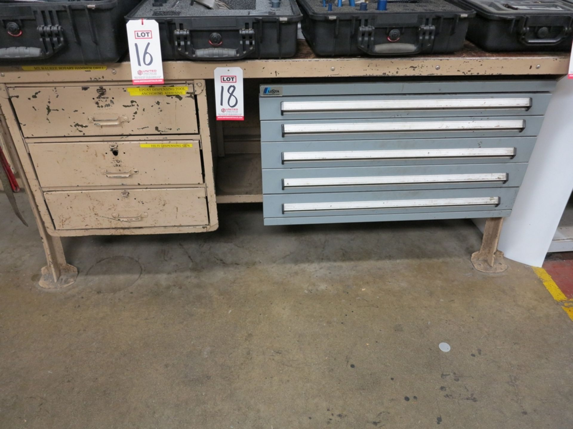 Lot 18 - LOT - LISTA 5-DRAWER PARTS/TOOL CABINET W/ CONTENTS OF FITTINGS, TOOLS, ETC. AND 3-DRAWER STEEL
