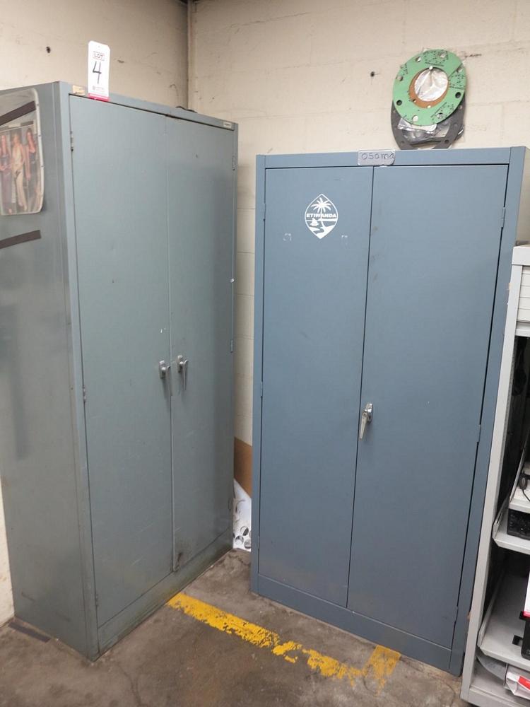 Lot 4 - LOT - (2) 2-DOOR STORAGE CABINETS W/ MISC CONTENTS