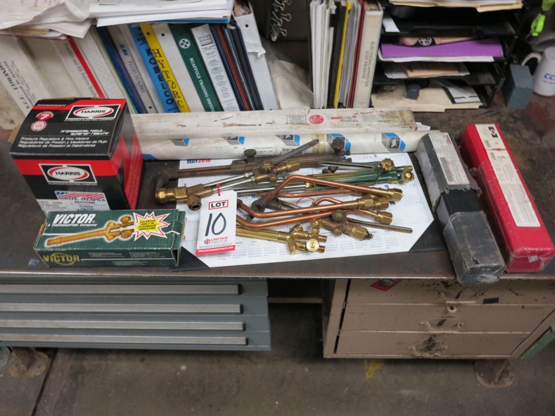Lot 10 - LOT - CUTTING TORCHES AND HANDLES, ACETYLENE REGULATOR, MISC WELDING WIRE