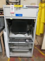 Lot 19 - PORTABLE COMPUTER CABINET W/ MONITOR AND KEYBOARD