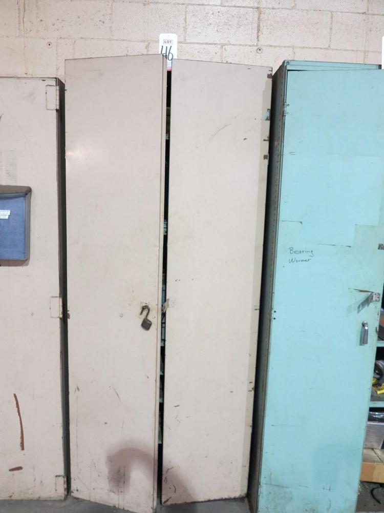 Lot 46 - 2-DOOR STORAGE CABINET W/ CONTENTS OF PARKER CYLINDER SERVICE KITS, MISC FIXTURES, ETC.