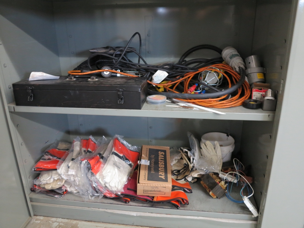 Lot 32 - 2-DOOR STORAGE CABINET W/ CONTENTS TO INCLUDE: LARGE QTY OF SALISBURY GLOVES, BAGS, DROPLIGHTS,