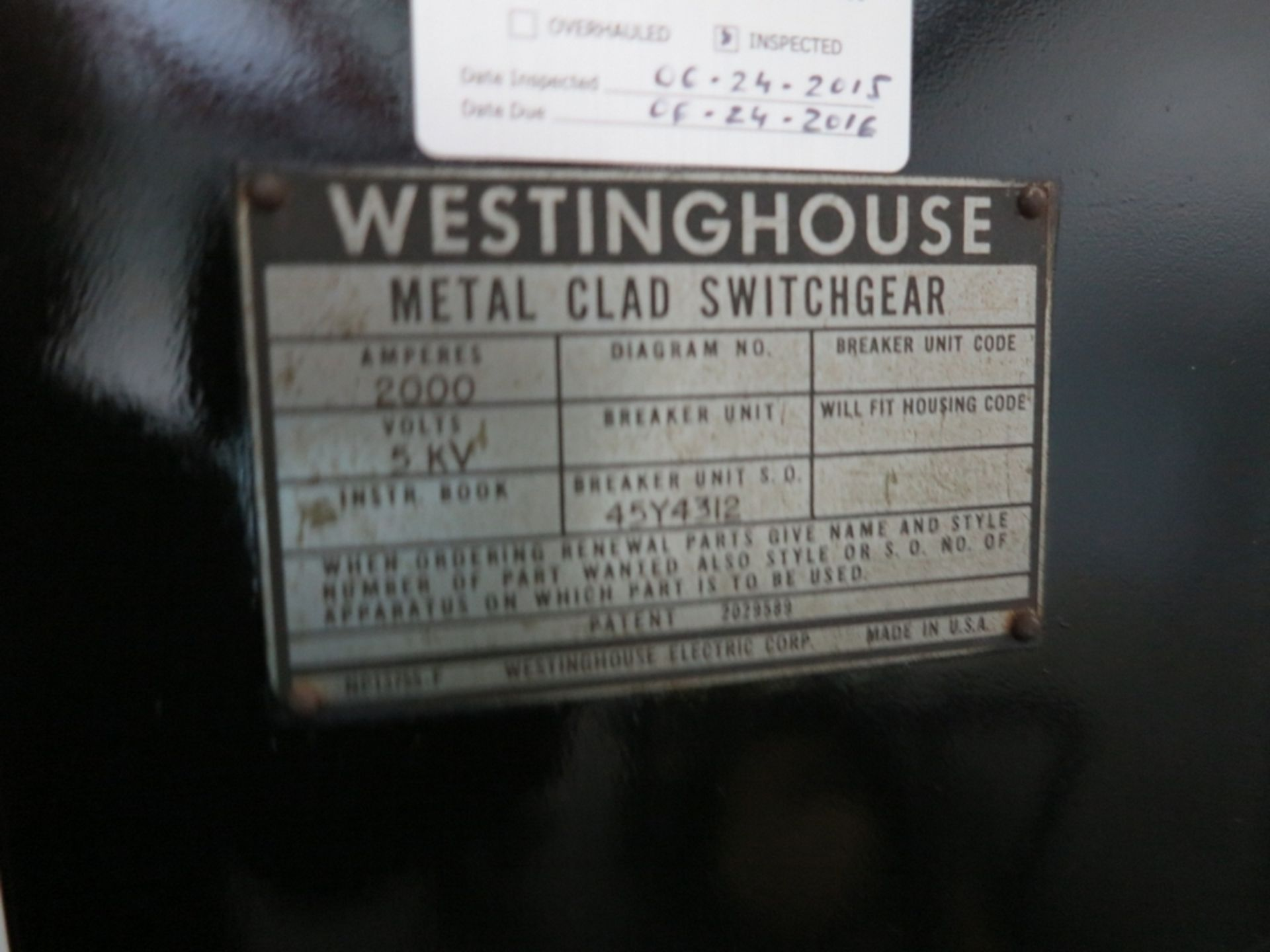 Lot 473 - WESTINGHOUSE SWITCHGEAR, 2000 A, 5 KV