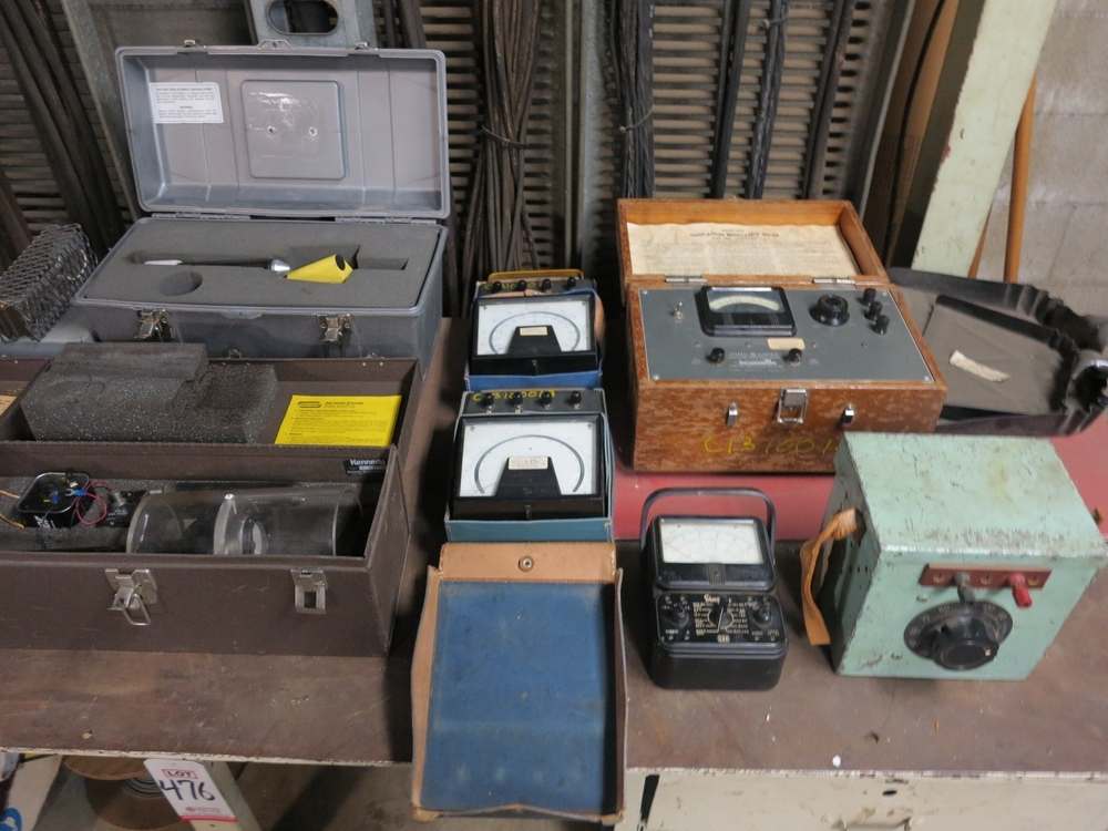 Lot 475A - LOT - CONTENTS OF WORKBENCH TO INCLUDE: MISC DRAWER CONTENTS AND ELECTRICAL TEST EQUIPMENT ON TOP