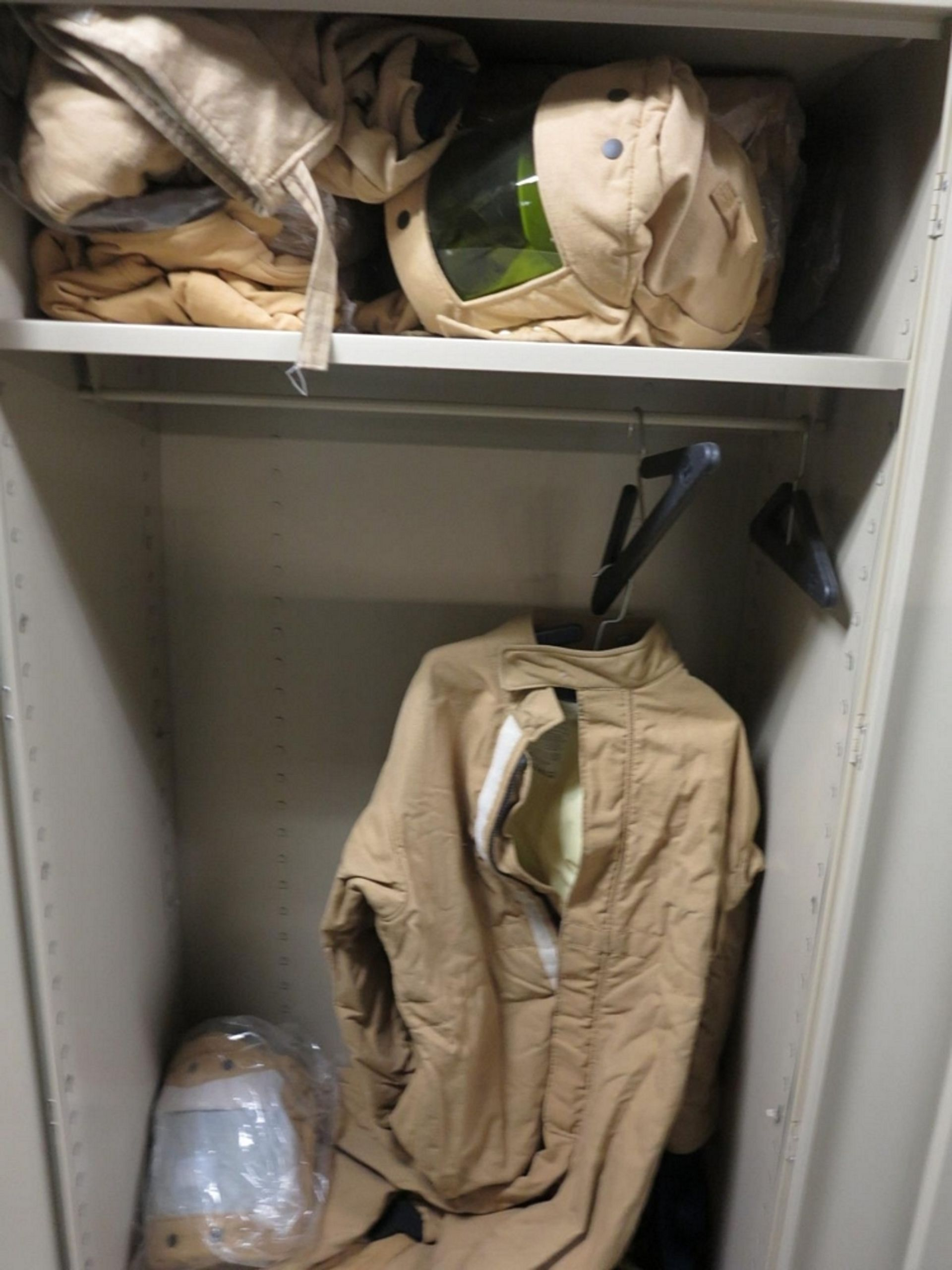 Lot 475 - LOT - (2) 2-DOOR STORAGE CABINETS W/ CONTENTS TO INCLUDE: ELECTRIC ARC PROTECTION SUITS