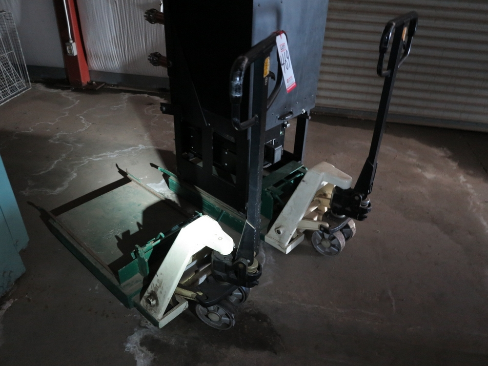 Lot 469 - LOT - (2) JET 6000 LB NARROW PALLET JACKS MODIFIED TO CARRY BREAKERS, MODEL PT-2036W