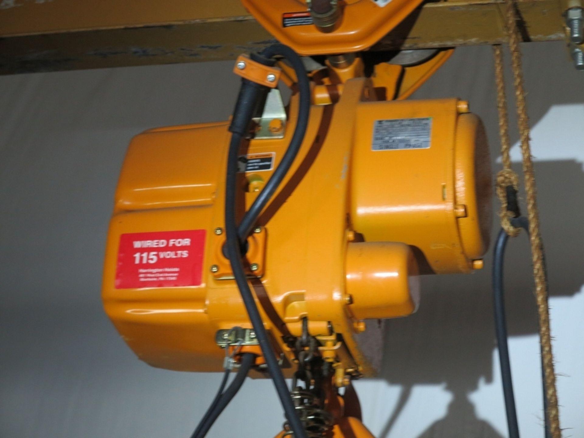 Lot 472 - SPANCO 1-TON GANTRY, 11' BETWEEN UPRIGHTS W/ HARRINGTON 1-TON ELECTRIC CHAIN HOIST W/ PENDANT