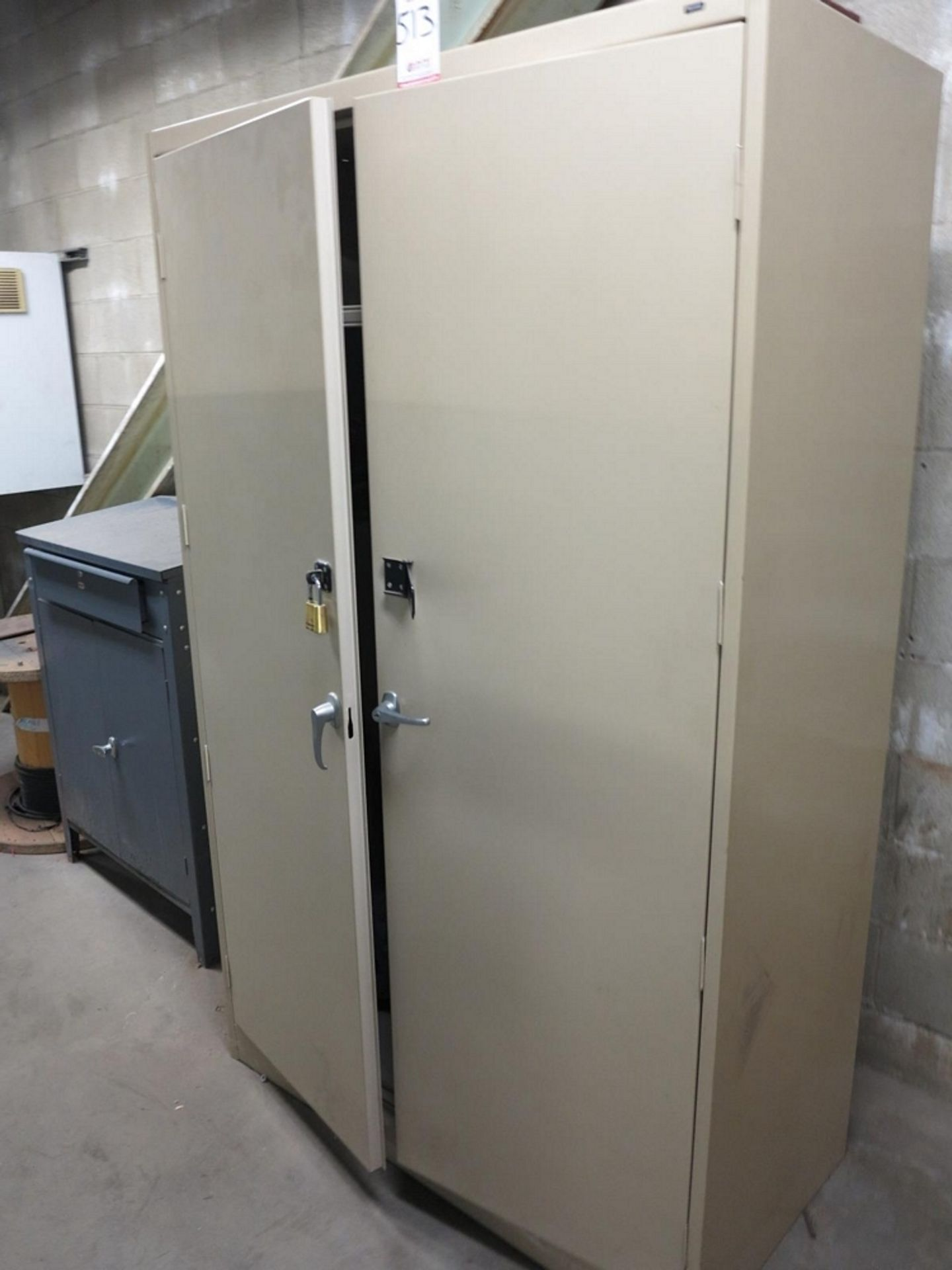Lot 513 - LOT - 2-DOOR STORAGE CABINET, FOREMAN'S DESK AND SMALL 2-DOOR STORAGE CABINET W/ CONTENTS