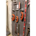 "Lot 4 - LOT - (1) SECTION OF STEEL PEG BOARD, 32"" X 84"", W/ CONTENTS: (2) RIDGID NO. 4-S AND (1) NO. 3-S"