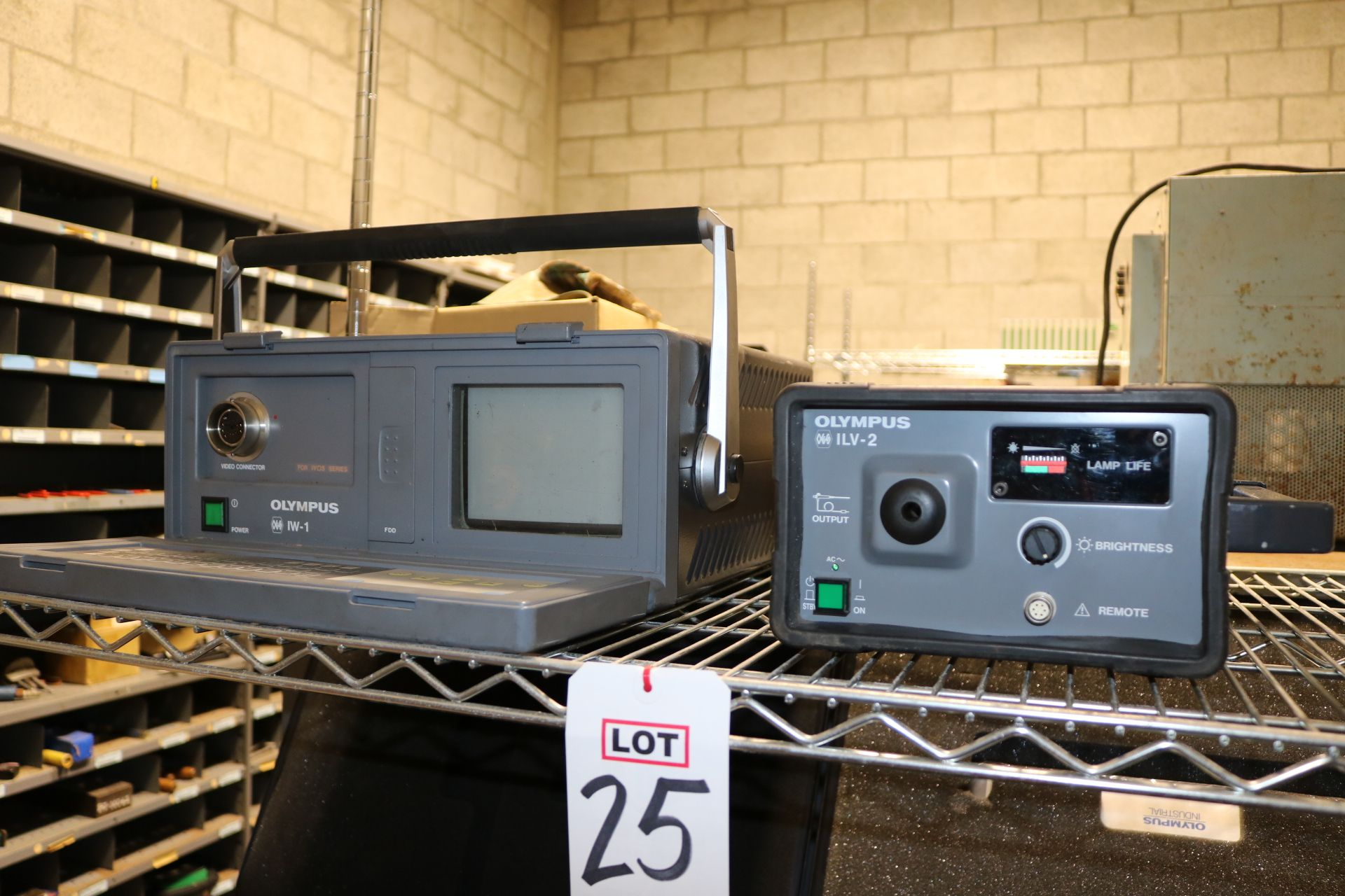 Lot 25 - LOT - OLYMPUS IW-1 VIDEO ANALYZER, ILV-2 OES XENON LIGHT SOURCE, OLYMPUS IF11D4-20 OPTICAL FIBRE