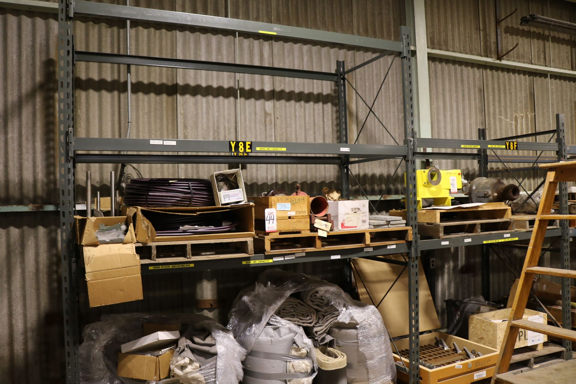 Lot 48 - LOT - (2) SECTIONS PALLET RACK, 8' AND 6' BEAMS, (2) 10' AND (1) 8' UPRIGHTS, CONTENTS NOT INCLUDED
