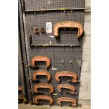 "Lot 10 - LOT - (1) SECTION OF STEEL PEG BOARD, 32"" X 84"", W/ CONTENTS: (2) EXTENSION BARS AND INDUSTRIAL """