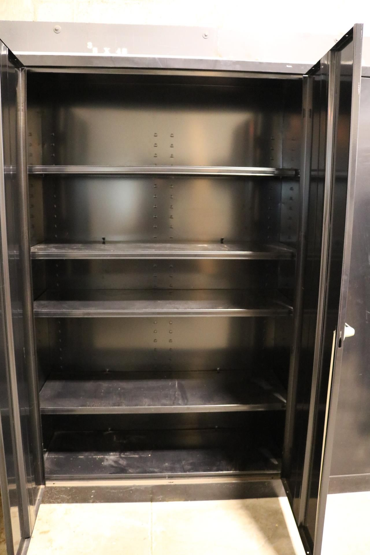 Lot 1 - LOT - (3) 2-DOOR STORAGE CABINETS W/ CONTENTS: (1) EMPTY AND (2) FULL OF FIRST AID SUPPLIES