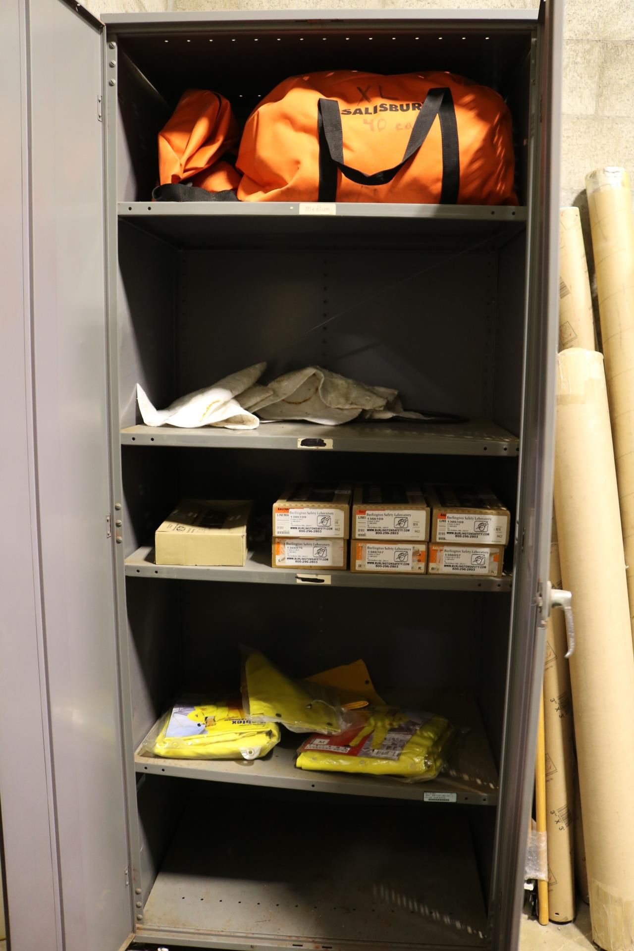 Lot 2 - 2-DOOR STORAGE CABINET W/ CONTENTS: SALISBURY ELECTRICAL SAFETY PRODUCTS, GLOVES, ETC.