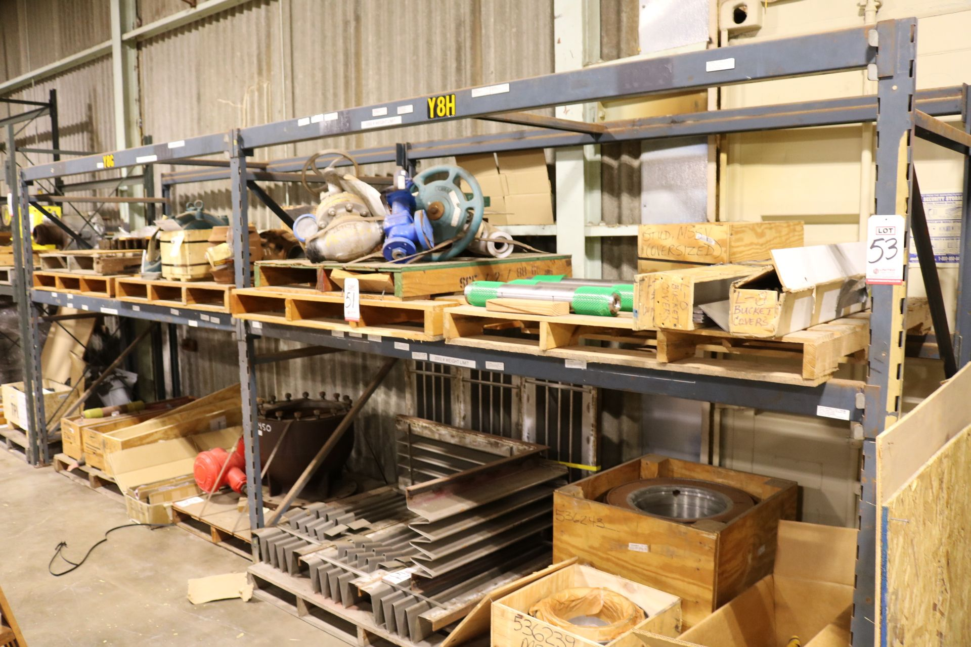 Lot 53 - LOT - (2) SECTIONS PALLET RACK, 9' BEAMS, 7' UPRIGHTS, CONTENTS NOT INCLUDED