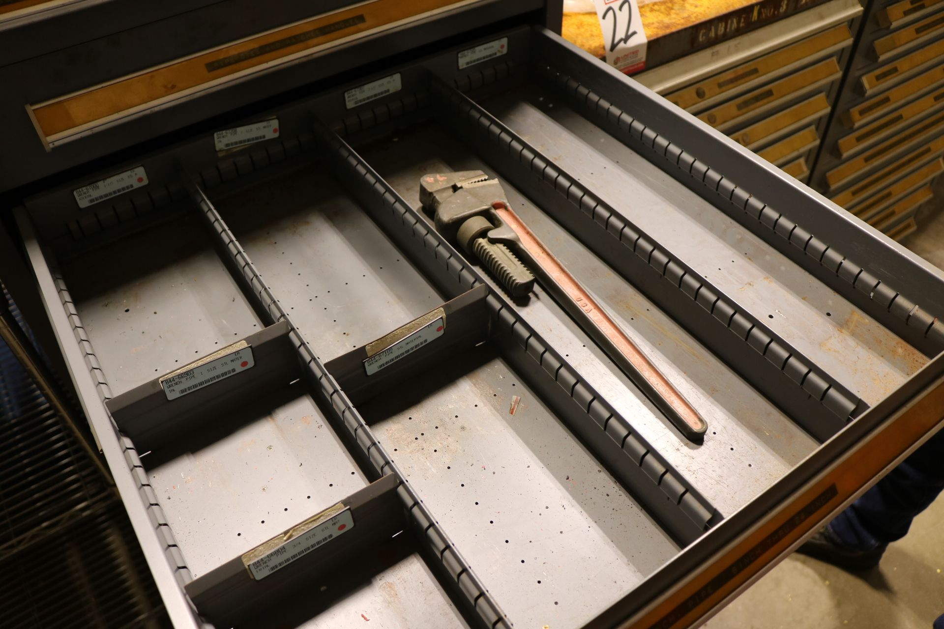 Lot 23 - STANLEY VIDMAR 10-DRAWER PARTS/TOOL CABINET, W/ CONTENTS TO INCLUDE: IMPACT SOCKET RETAINING