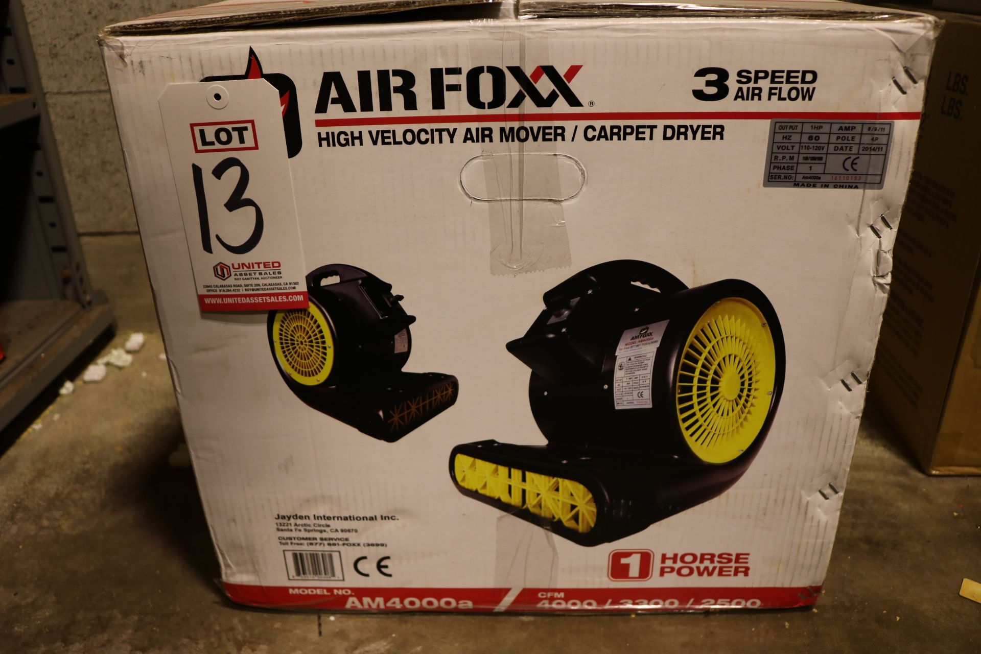 Lot 13 - AIR FOXX 3-SPEED HIGH VELOCITY AIR MOVER, MODEL AM4000A, 1 HP, 4000 CFM, NEVER UNBOXED
