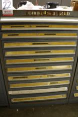 "Lot 22 - STANLEY VIDMAR 11-DRAWER PARTS/TOOL CABINET, 44""HT, W/ CONTENTS TO INCLUDE: SCREW AND PIPE"