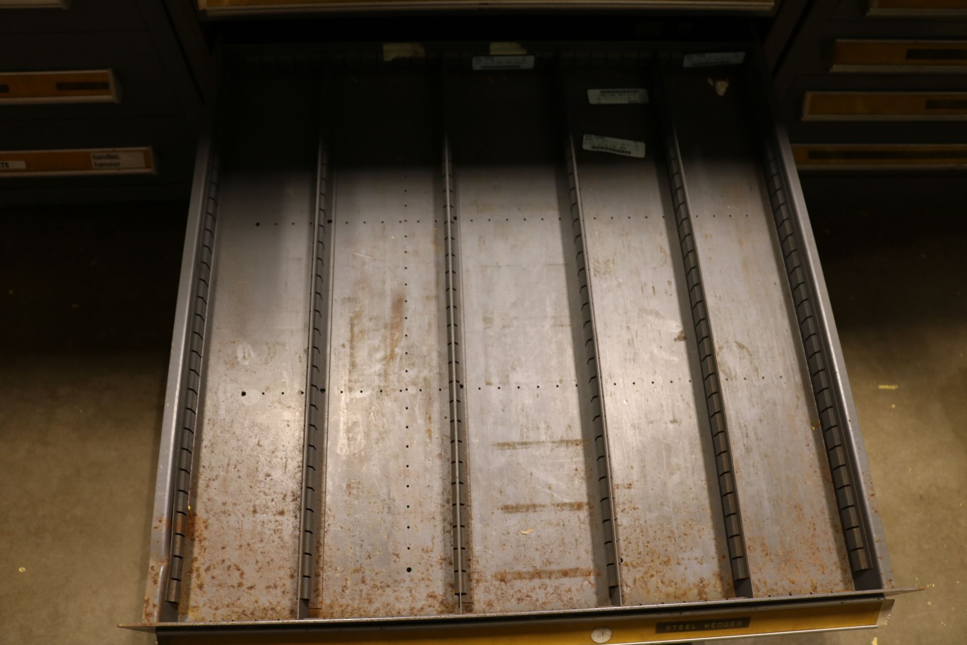 """Lot 22 - STANLEY VIDMAR 11-DRAWER PARTS/TOOL CABINET, 44""""HT, W/ CONTENTS TO INCLUDE: SCREW AND PIPE"""