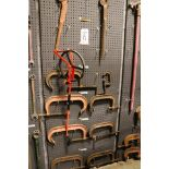 """Lot 8 - LOT - (1) SECTION OF STEEL PEG BOARD, 32"""" X 84"""", W/ CONTENTS: SPUD WRENCHES, HEAVY DUTY """"C"""""""