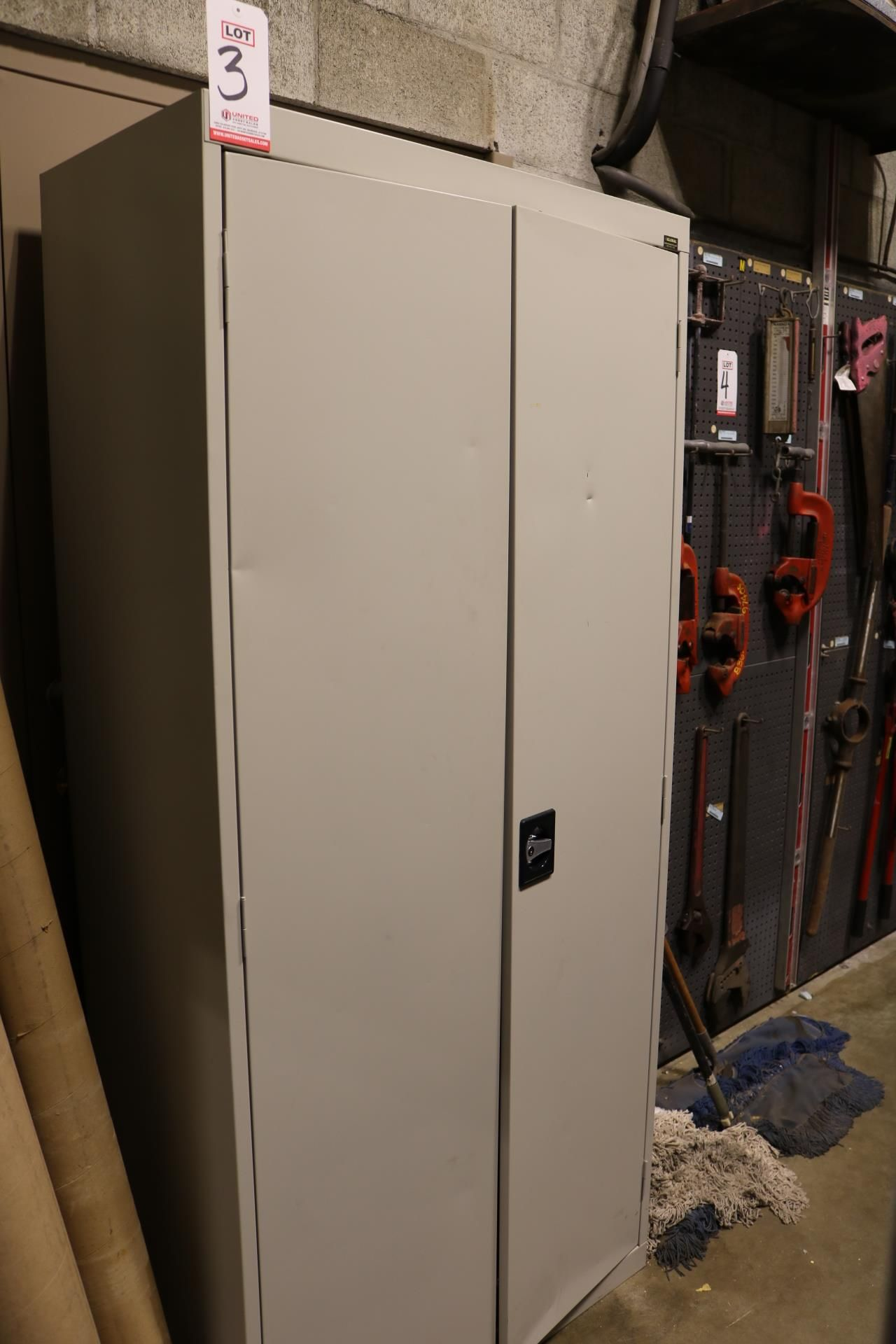 Lot 3 - 2-DOOR STORAGE CABINET W/ CONTENTS: SALISBURY PRO-WEAR ARC FLASH PROTECTION GARMENTS, FACE SHIELDS