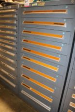Lot 27 - STANLEY VIDMAR 10-DRAWER PARTS/TOOL CABINET, W/ CONTENTS TO INCLUDE: LARGE ASSORTMENT OF THREADING