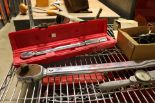 Lot 17 - LOT - MISC HAND TOOLS TO INCLUDE: TORQUE WRENCHES, RIDGID PIPE WRENCHES, RATCHET, SOCKETS,