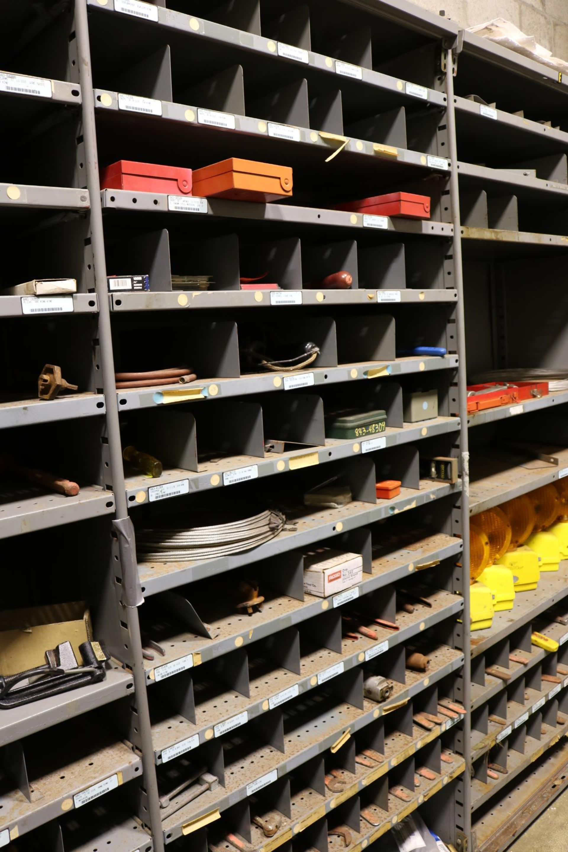 Lot 11 - LOT - CONTENTS OF (4) 3' SECTIONS OF SHELVING TO INCLUDE: MISC HAND TOOLS, RIVETS, INTERNAL PIPE