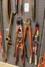 "Lot 5 - LOT - (1) SECTION OF STEEL PEG BOARD, 32"" X 84"", W/ CONTENTS: (3) BOLT CUTTERS, LOPPERS, CRIMPERS,"