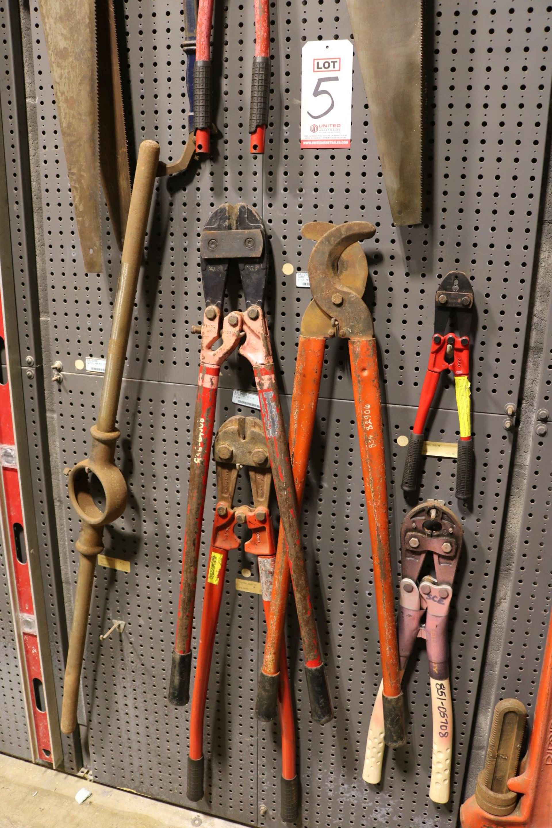 """Lot 5 - LOT - (1) SECTION OF STEEL PEG BOARD, 32"""" X 84"""", W/ CONTENTS: (3) BOLT CUTTERS, LOPPERS, CRIMPERS,"""