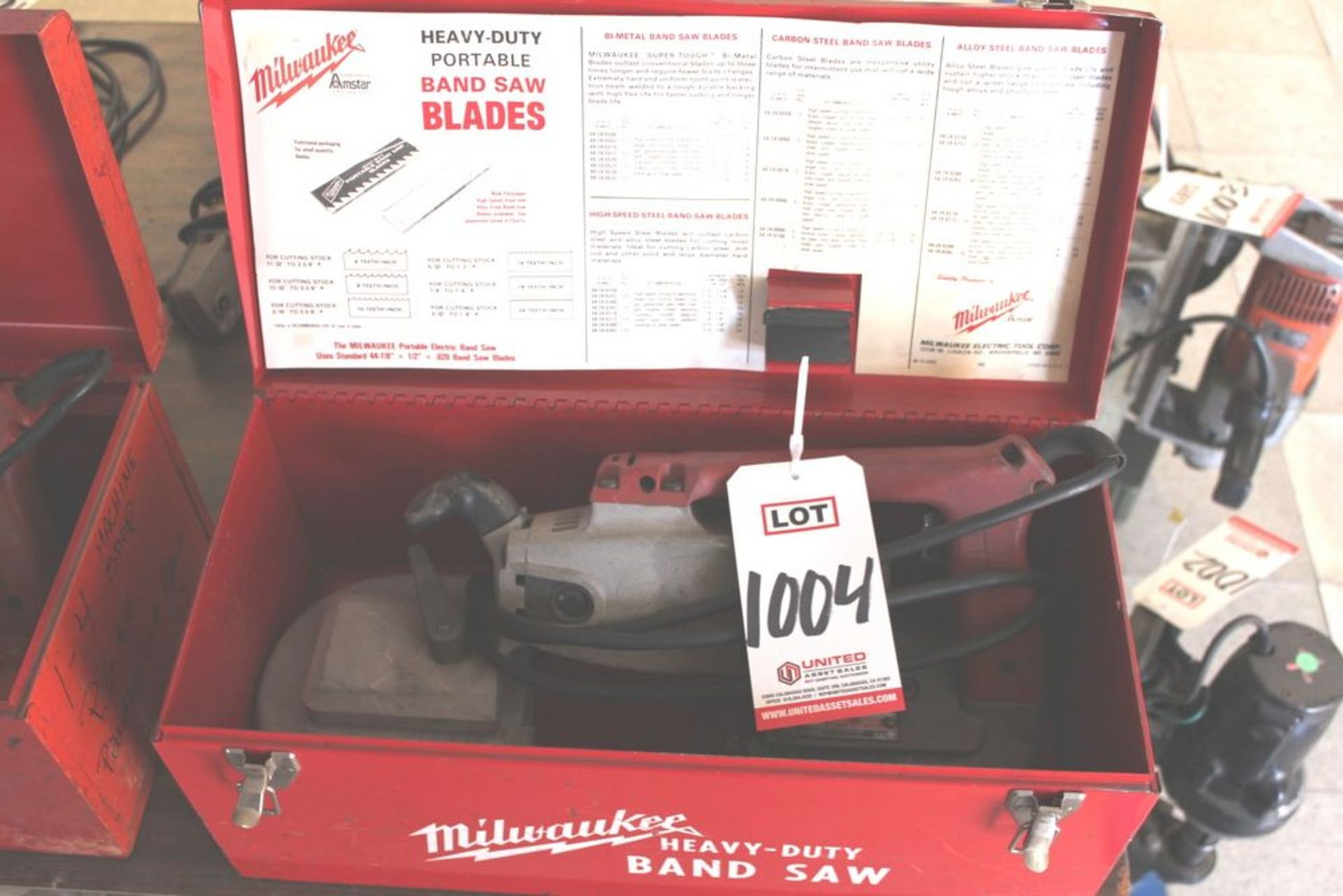 Lot 1004 - MILWAUKEE PORTABLE BAND SAW W/ CASE, (LUNCHROOM)