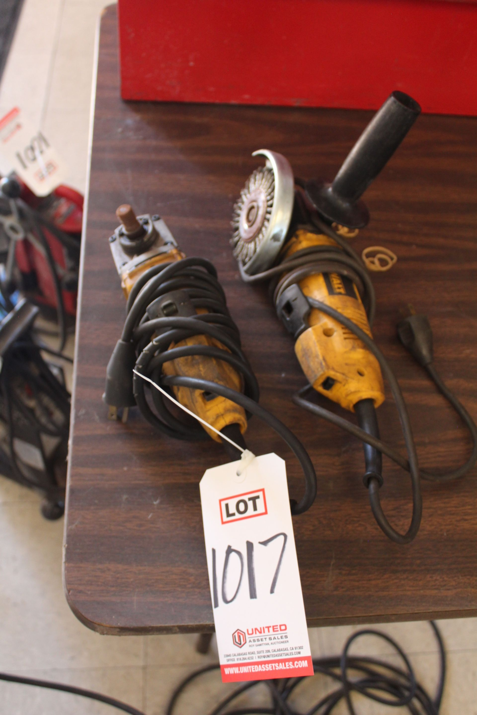 "Lot 1017 - LOT - (2) DEWALT 4-1/2"" ELECTRIC RIGHT ANGLE GRINDERS, (LUNCHROOM)"