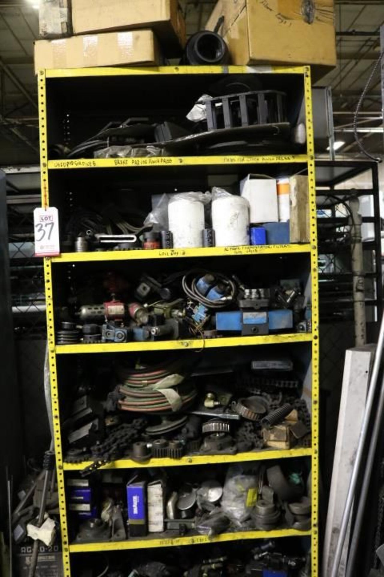 Lot 37 - CABINET W/ CONTENTS TO INCLUDE: AIR HOSES, FILTERS, ELECTRICAL MOTOR, ETC.