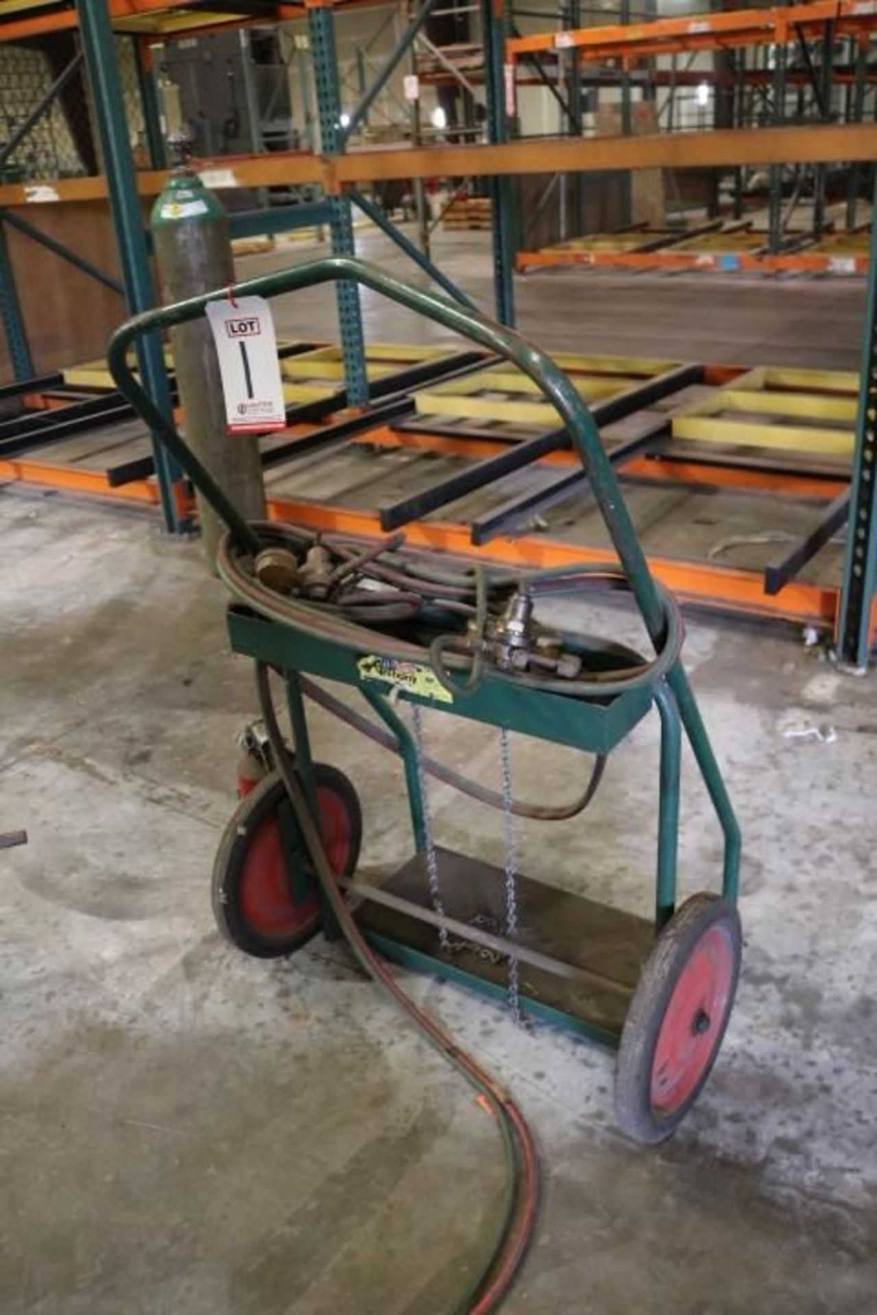 Lot 1 - ANTHONY OXY-ACETYLENE TORCH CART W/ CUTTING TORCH AND REGULATORS (TANKS NOT INCLUDED)