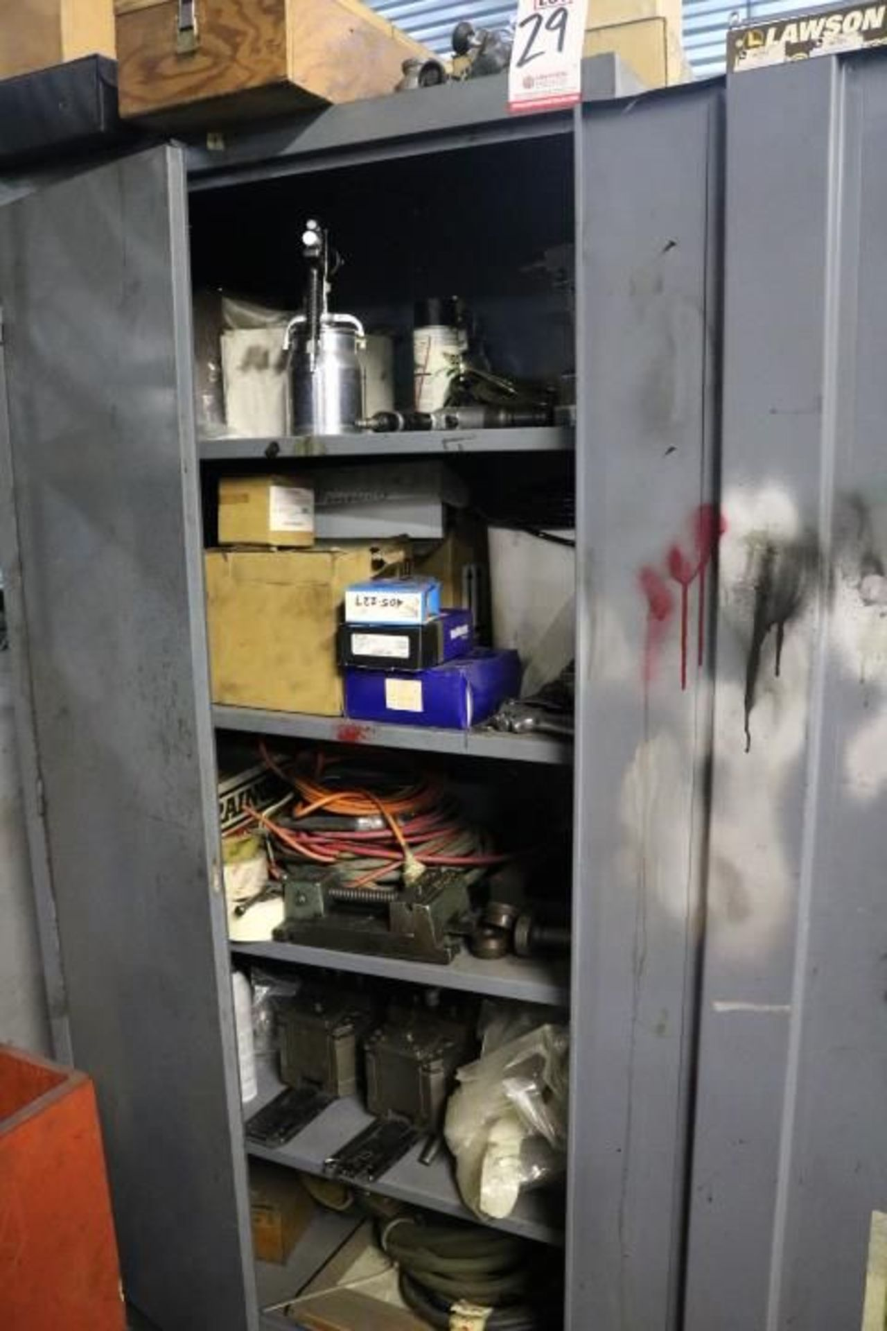 Lot 29 - CABINET W/ CONTENTS TO INCLUDE: PAINT GUN, ELECTRICAL CORDS, ETC.