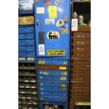 Lot 26 - HARDWARE CABINET W/ (8) REMOVABLE DRAWERS CONTAINING SPOT WELDING SUPPLIES, RETAINING RINGS, SET