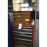 Lot 39 - CABINET W/ CONTENTS TO INCLUDE: O-RINGS, CRAFTSMAN TOOL BOX W/ CONTENTS, NSK BEARINGS, PRESSURE