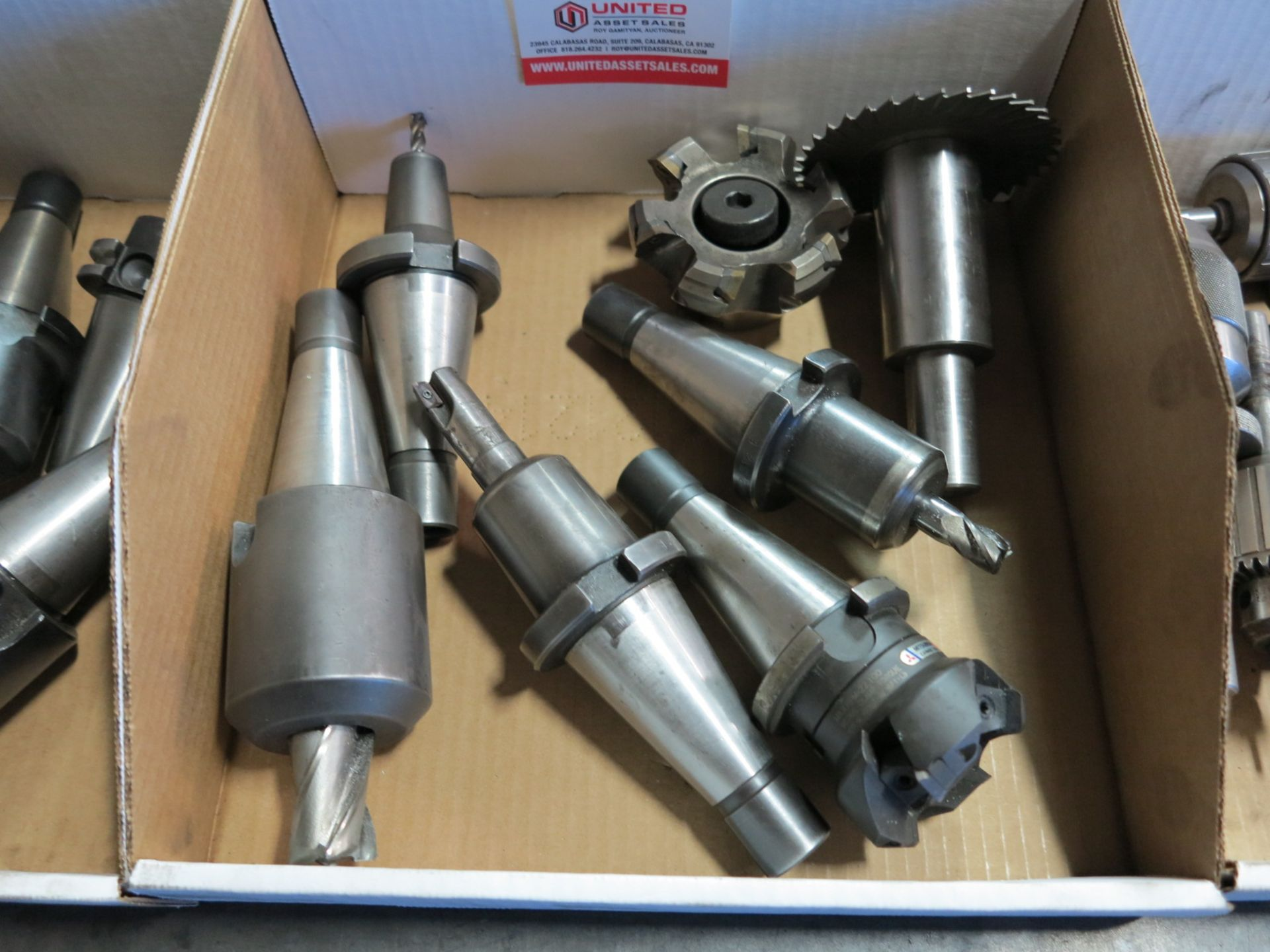 Lot 23 - LOT - (3) BOXES OF 40 TAPER TOOL HOLDERS, TOOLING, CHUCKS AND 5C COLLETS