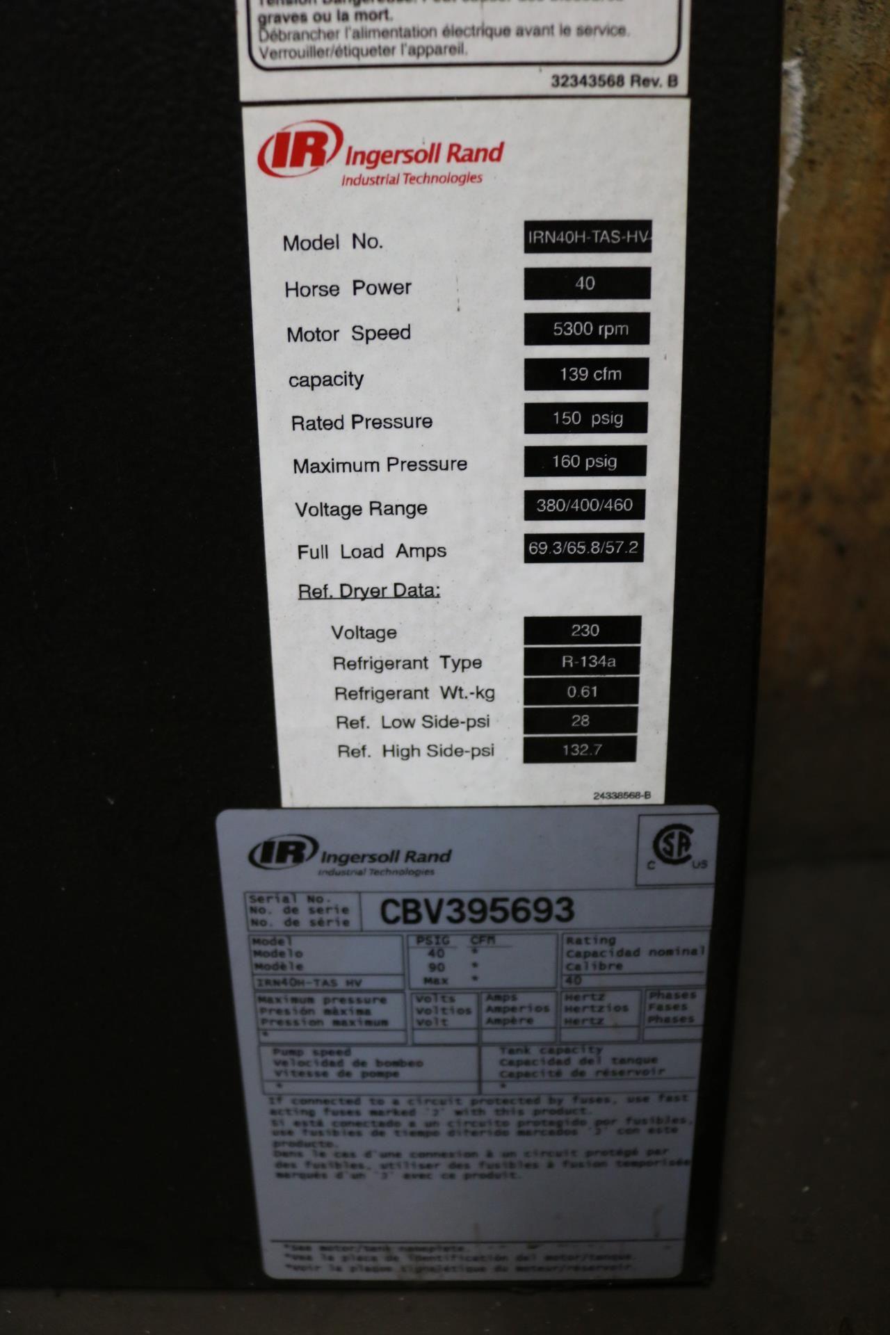 Lot 10 - 2015 INGERSOLL RAND MODEL IRN40H-TAS, 40 HP, 150 PSIG, S/N CBV395693