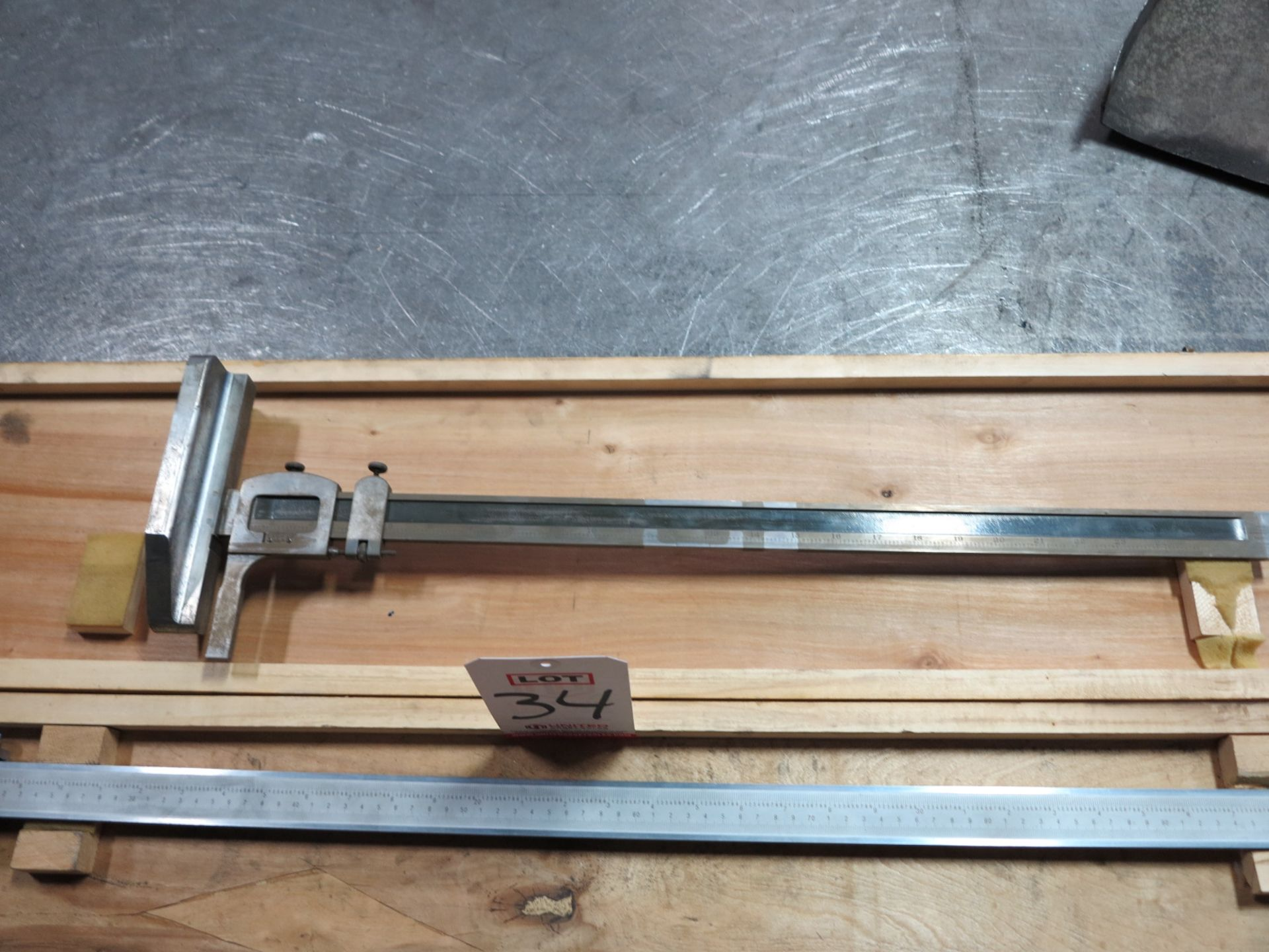"Lot 34 - LOT - VERNIER CALIPERS, 40"" AND 18"", PLUS 24"" HEIGHT GAGE"