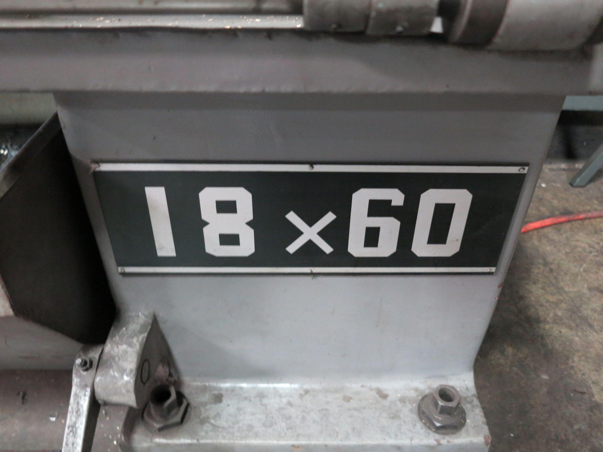 "Lot 3 - ENGINE LATHE, 18"" X 60"" CC, 12"" 3 JAW CHUCK, 3"" HOLE THRU, 37-1500 RPM, TAILSTOCK, NEWALL XY DRO,"