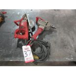 "Lot 37 - LOT - (1) MILWAUKEE 7-1/4"" WORM GEAR SAW, MODEL 6377 AND (1) 1/2"" DRILL MOTOR"