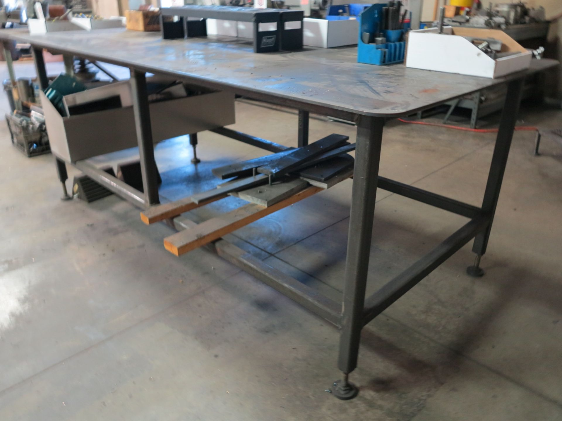 "Lot 46 - 8' X 4' STEEL TABLE, TOP IS 5/16"" THICK"