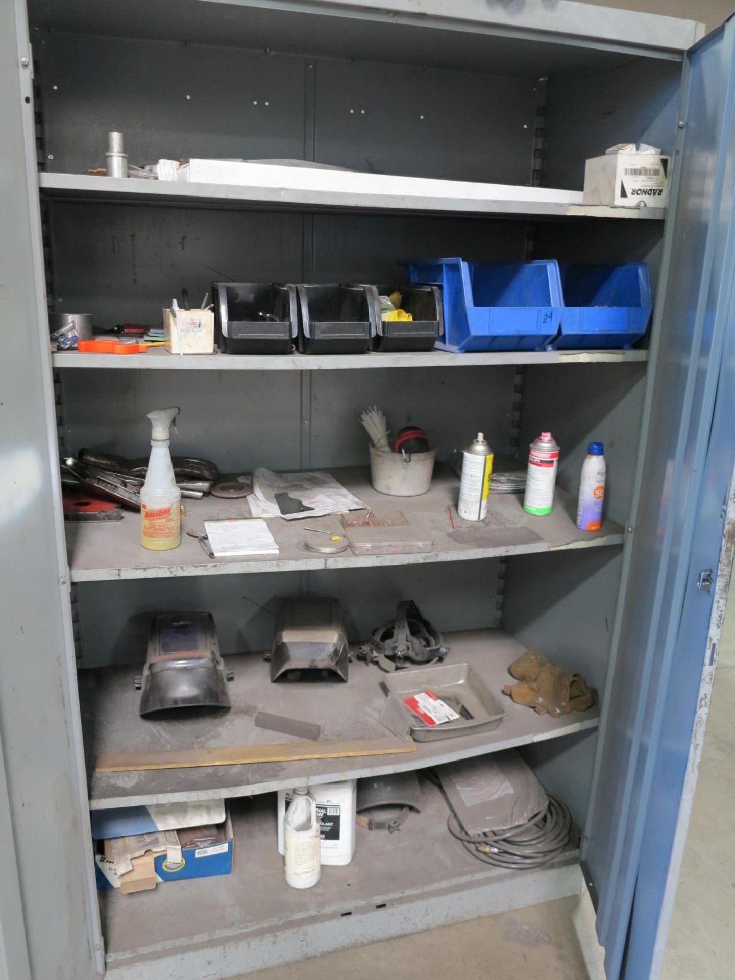 Lot 51 - 2-DOOR CABINET W/ MISC WELDING ITEMS