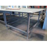 "Lot 49 - 5' X 10' STEEL TABLE, TOP IS 1/2"" THICK"