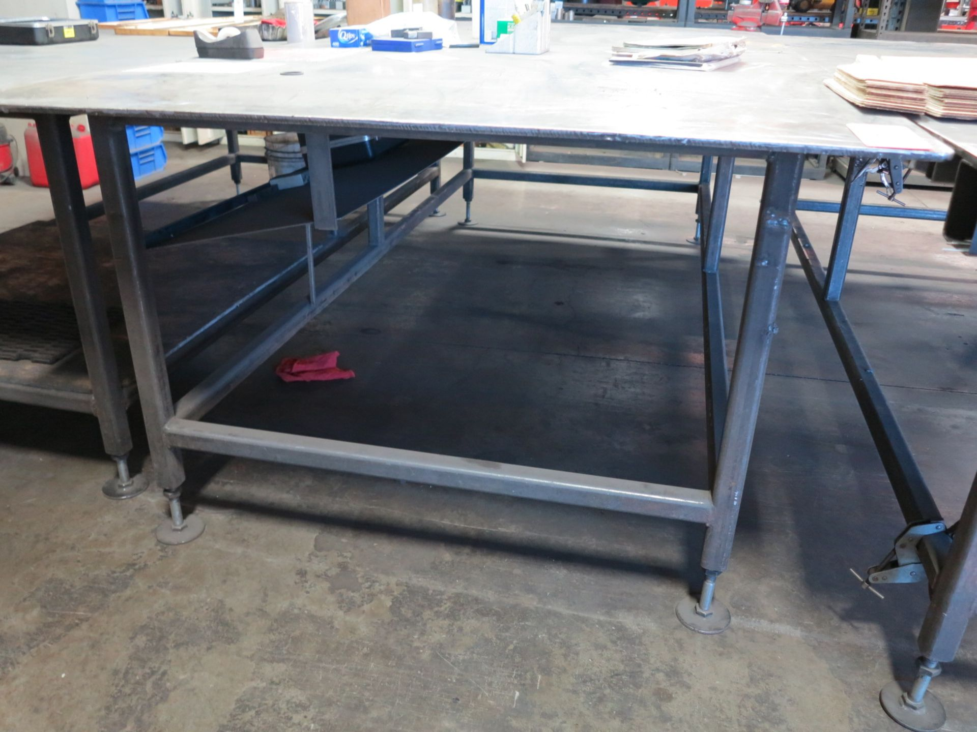 "Lot 48 - 5' X 10' STEEL TABLE, TOP IS 1/2"" THICK"