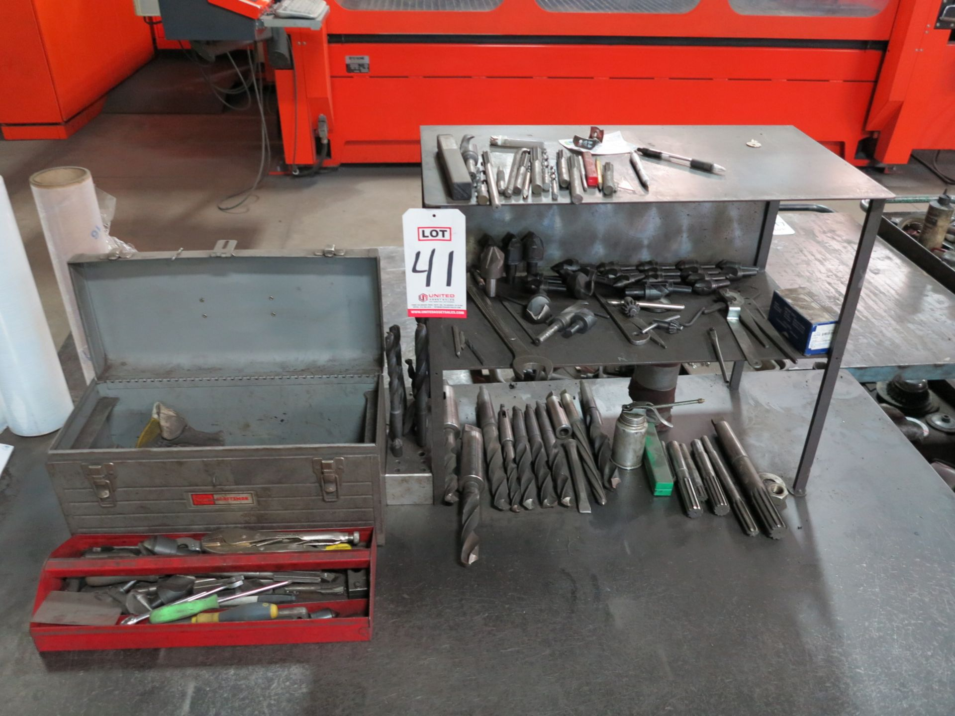 Lot 41 - LOT - MORRIS TAPER TOOLING: COUNTERSINKS, DRILLS, REAMERS, MISC HAND TOOLS IN (2) TOOL BOXES, ETC.