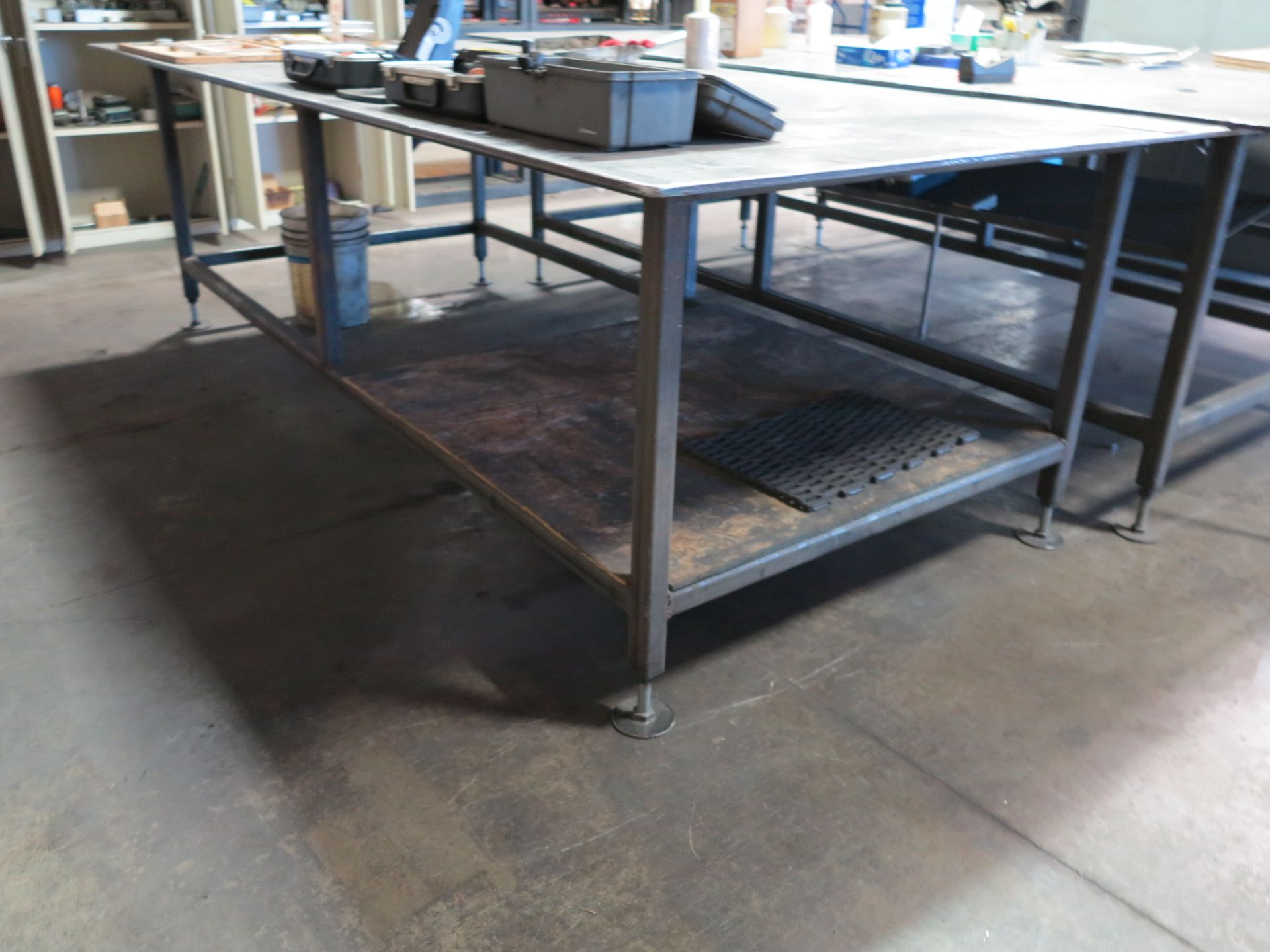 "Lot 47 - 5' X 10' STEEL TABLE, TOP IS 1/2"" THICK"