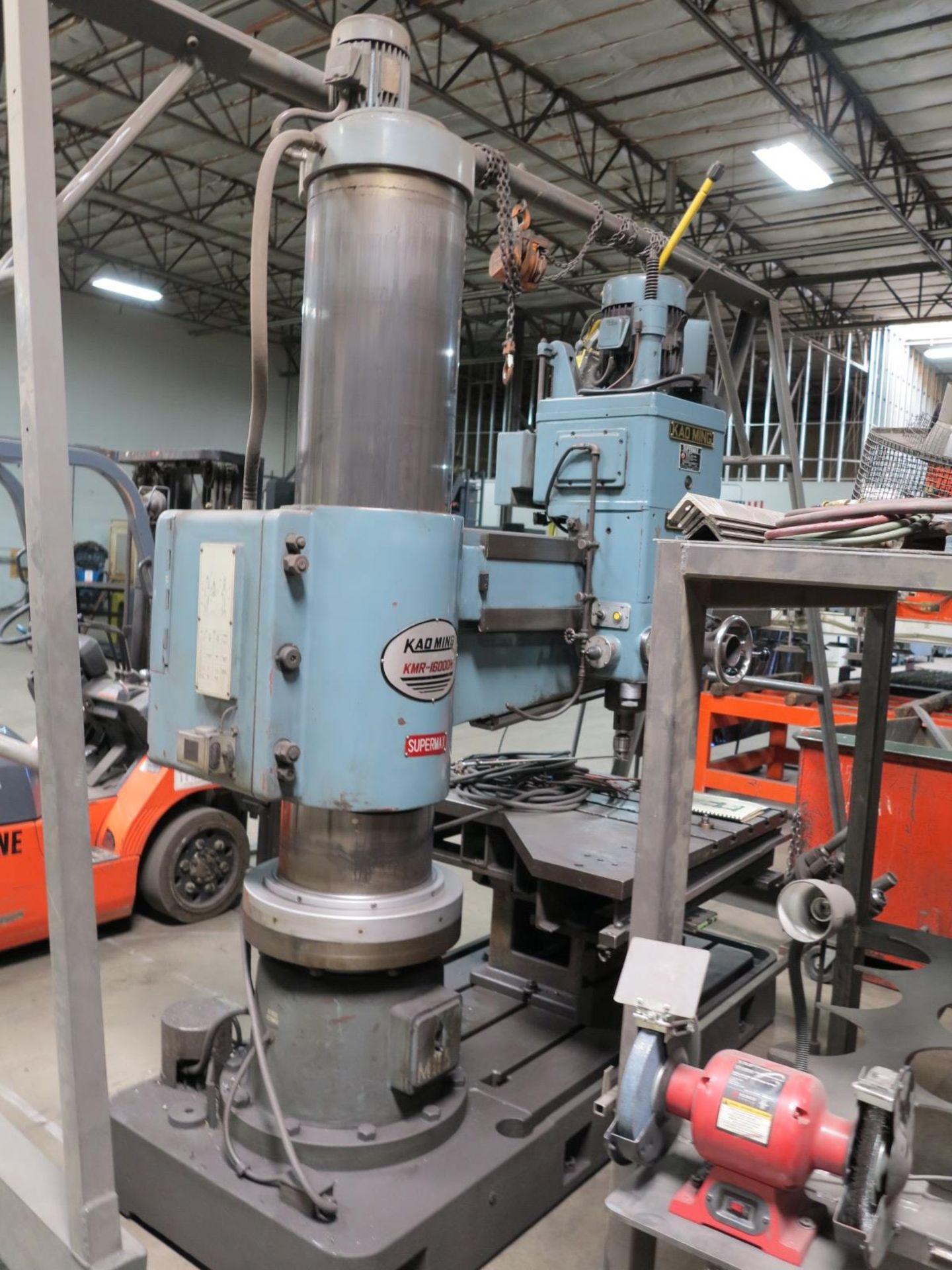 "Lot 4 - KAO MING RADIAL ARM DRILL, MODEL KMR-1600 DH, 15"" X 5' 48"" X 43"" BOX TABLE, S/N 1839"