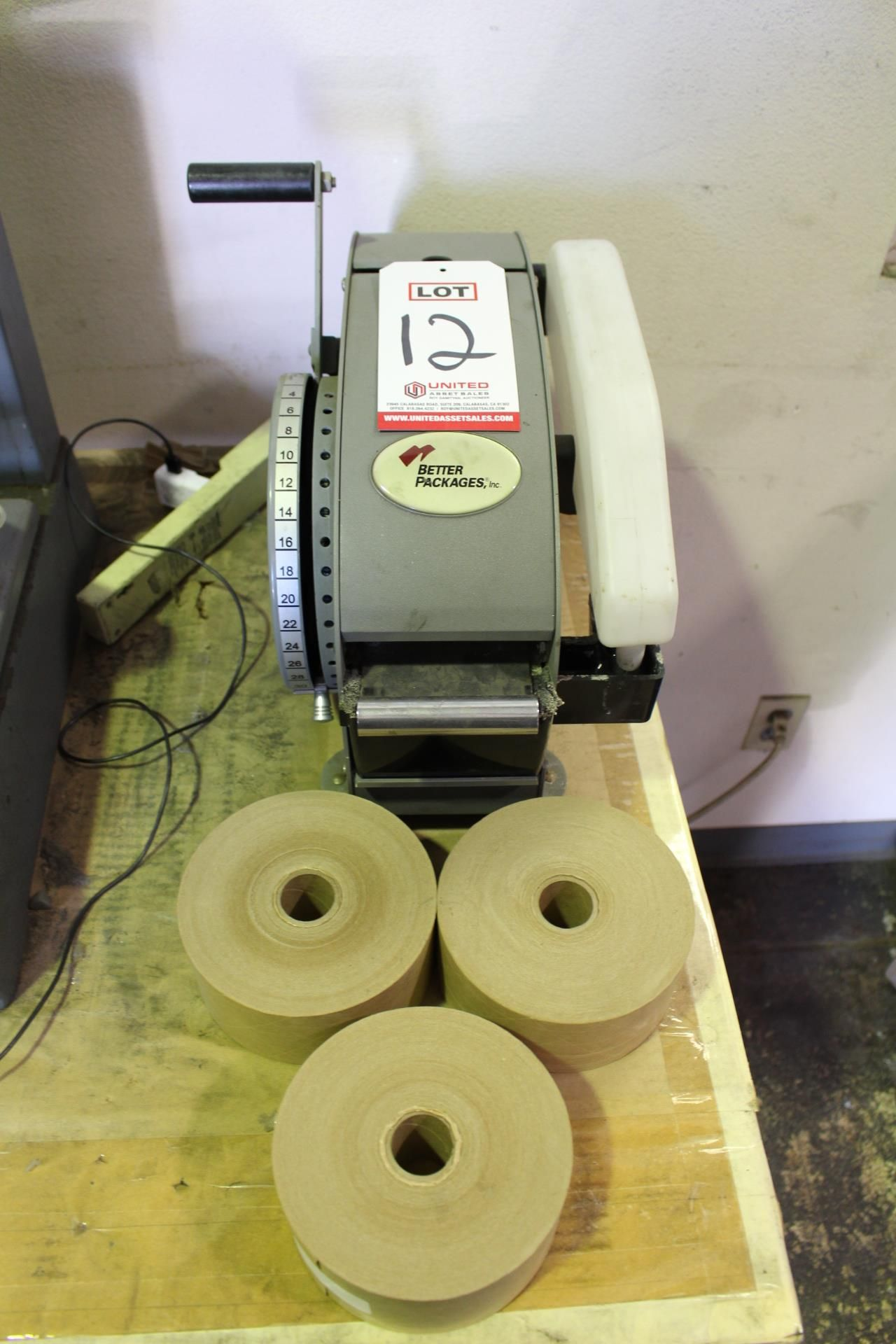 Lot 12 - LOT - BETTER PACK WATER ACTIVATED TAPE DISPENSER, MODEL 333 PLUS, W/ (3) ROLLS TAPE